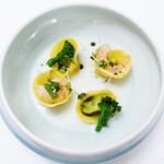 リストランテ センソ - ブロッコリーのラヴィオリ モッツアレラチーズのスープ 甘海老とバジリコ