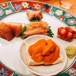 翁 - 前菜5種盛り合わせ たらの白子 車海老 白えび  雲丹 ホタテ