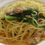55677635 - H28年9月、むきアサリと小松菜の和風スパゲッティ