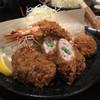 とんかつ 播 - 料理写真:4種盛り定食(ヒレ、ホタテ、海老、ヒレ野菜巻き)