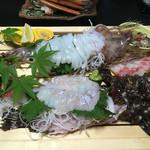 美味し宿かどや  - 料理写真:活イカとオコゼ