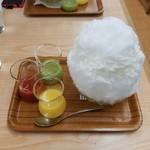 埜庵 - かき氷(湘南ゴールド×夏みかん、夏いちご埜庵、りんご&キウイ)横浜高島屋2016年