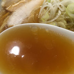 55694681 - 中華そば  スープ  201609                                              美しい醤油色!                       さらに中太麺に負けない力強くコクと奥深い旨味が存在しているよう!?