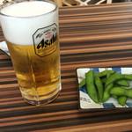 王記酒家 - 生ビール(480円)とサービスの枝豆