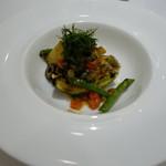 55702211 - 岩牡蠣のムニエルと賀茂ナスのグリエ