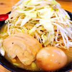 麺屋だるま家 - 盛菜(麺大盛)+野菜大盛+玉子