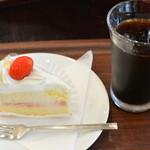 甘座洋菓子店 - ショートケーキ+アイスコーヒー