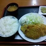 とんかつ 大丸 - ロースカツ定食+トキワ荘コロッケ ¥600