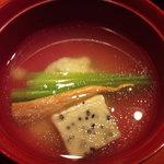 5573608 - 煮物椀~甘鯛油霜 餅蕪 ばちこ 黒胡麻麩 薄葛仕立て
