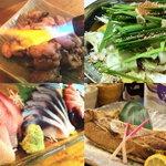 居酒屋 フクズシ - 料理写真:お刺身盛り合わせ、地鶏の炭火焼き、モツ鍋、鮪カマ焼き