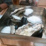 魚河岸酒場 魚楽 - 蒸し上がった貝たち