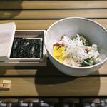 恵比寿 箸庵 - 蛸ぶつと納豆を焼き海苔で〜♬