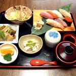 一福寿司 - にぎり定食 1,620円。