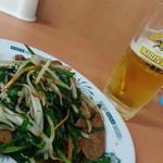 日高屋 - レバニラ炒め&生ビール2016.9.6