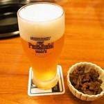 米沢牛 登起波 - 生ビール & 米沢牛の佃煮