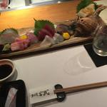 宮武 - お造り盛り合せ 五種盛 ¥1,404- + 玉川(限定地酒)¥724-