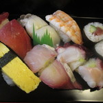 小丸新茶屋 高鍋本店 - 極上釜揚げBセットのお寿司のアップ