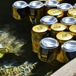 55818000 - 流水で冷やしているビール