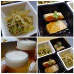 炉端魚姫 SAKAKI - ◆お通し(300円)・・お通しもキレイ。どちらもいいお味でした。       *鰤の煮凝り。       *じゃことお野菜の炒め物風。