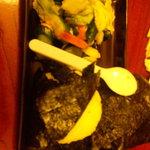 桝家 - 大きな梅干しのおにぎり¥170/1個 ※スプーンは大きさの目安w