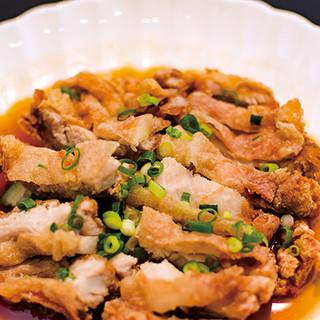 ネギ油スープの油淋鶏!