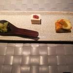55850306 - スペイン風オムレツ、自家製胡麻豆腐、鯛のマリネ