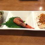 天鳳 - 前菜3種  棒棒鶏サラダ、海老の紹興酒漬け、豆腐のなんちゃら。