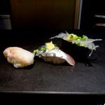 寿司 さいしょ - ハッカク、サンマ、シラウオの握り
