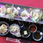 舞妓飯 - 彩り野菜の天ぷら膳