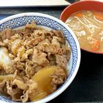 Yoshinoya - 牛丼並380円と豚汁160円