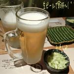 55876754 - 生ビール(620円)で乾杯〜( ^ ^ )/□                       お通しはキャベツの塩もみ☆彡