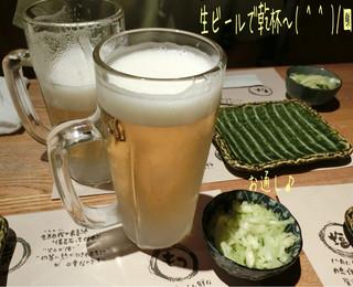 やきとり処 大舞  町田本店 - 生ビール(620円)で乾杯〜( ^ ^ )/□ お通しはキャベツの塩もみ☆彡