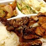 KOREAN EXPRESS - BBQ骨付きカルビ&BBQチキン(4種類の野菜&ライス付) 950円