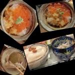 八百亀 - 追加写真<2016/9月ランチ>小鉢色々、いくら乗せ卵かけご飯、」                             切子の器は鶏&シャキシャキ水菜の和え物、白い物体の下から現れたのは、、、ブドウと桃!