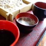 花扇 - 豪華な汁三種(ざるそば)
