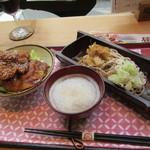 お結びcafe - ソースかつ丼とおろしそばのセット 1200円
