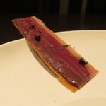 Bistaurant RNSQ - 鴨の胸肉の生ハムのパートブリック、メープルシロップ 発酵の生胡椒 イタリアンパセリの蕾2