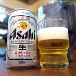讃岐うどん河野 - アルコールは缶ビールのみ