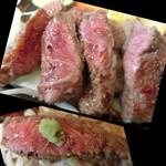 55961815 - ワサビを乗っけて美味しいお肉を堪能♡ 但し私は「レアで」と言ったのだが、、、www