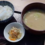蔵元直営 糀カフェ 悠久乃蔵 - ご飯、粕汁、切り干し大根