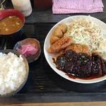 Sakuton - 160817八丁味噌カツ定食650円唐揚げ2個100円