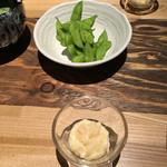 函館海鮮料理 海寿 - 枝豆 ・お通し(数の子マヨネーズ和え)