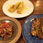 文世食堂 - 前菜その2~焼き茄子、きのこのマリネ、フリッタータ