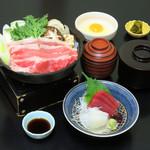 つきじ植むら - 平日ランチ 牛鍋定食(刺身付き)