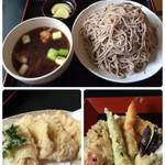 無量庵 - 蕎麦どころ山形でお蕎麦ランチ。 鳥つけ汁蕎麦にとり天と天ぷら盛り合わせ。 美味しいお蕎麦でした。 ご馳走でした。