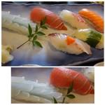 しめ寿司 - 料理写真:◆にぎり・・飾り切りにした烏賊・マグロ・鮭・鯛・イサキ・昆布〆にしたお魚は不明。 シャリは一般的な品で、小ぶり。 烏賊と鮪が美味しかったですね。