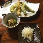 民宿 あけびや - 芋なますと天ぷら
