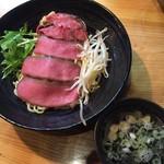 道玄 - チャーギュウ麺のつけ麺、醤油。つけ汁はかなり味が濃いです。スープ割は提供なし。