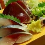 56020188 - 青魚3点(鯖鰹鰯)盛り \68o