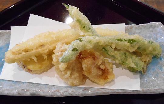 手打ち蕎麦 仙太郎 - セット:穴子天とおそば 穴子、さつま芋、おくら、無花果!の天ぷら